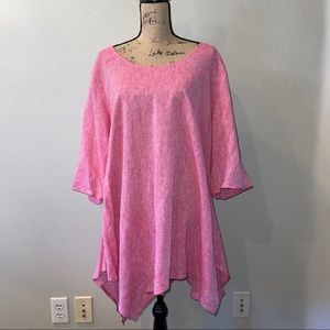 For Cynthia Pink Linen Blend Tunic Top Size 2X